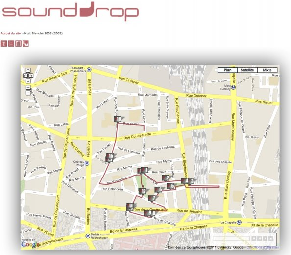 SoundDrop 2005 google map